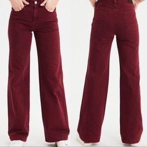 American Eagle Dark Red Wide Leg Jeans